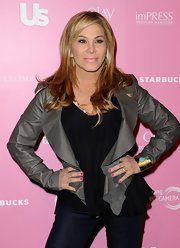 Adrienne Maloof finished off her ensemble with a very feminine gray cropped jacket.
