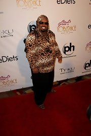Cee-Lo is known for his outrageous style, but the singer seemed to have toned it down here and opted for a leopard print hoodie.