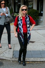 Reese Witherspoon accessorized with a blue printed scarf while out in New York.