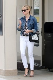Reese Witherspoon visited her dermatologist looking casual-chic in a Citizens of Humanity denim jacket and white jeans.