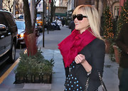 Reese Witherspoon looked darling in this cranberry scarf while out in NY.