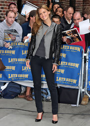 Bar Refaeli made an appearance on the 'Late Show' wearing a leather jacket with a herringbone zip-front.