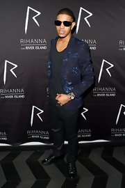 Fazer's blue blazer was a casual but funky choice for the young star.