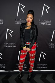 Leigh-Anne Pinnock showed her rocker edge with a cool black leather jacket.