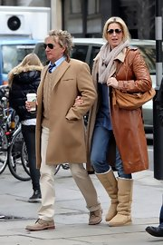 Penny Lancaster was spotted roaming around London wearing a leather trench.