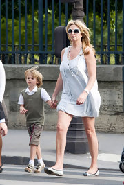 Penny Lancaster was spotted in Paris wearing a simple mini dress.