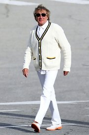 Rod Stewart was a vision of preppiness when he wore this tennis cardigan with yellow and white trim.