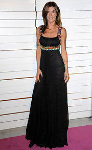 Elisabetta Canalis wore a black pleated floor-length evening dress with colorful shoulder and waist accents for the Walk of Style Award.