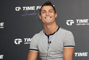 Cristiano rocked the Time Force event with classic spiked hair.
