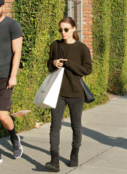 Rooney Mara donned a dark green crewneck sweater for a day of shopping.