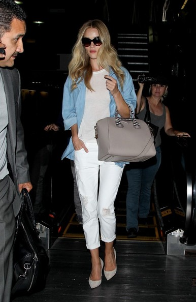 Rosie Huntington-Whiteley's White Cropped Pants and Chambray