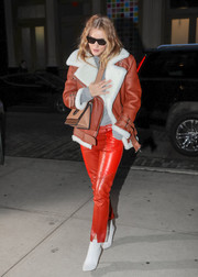 Rosie Huntington stayed cozy in style with this shearling-lined leather jacket by Acne Studios while out in New York City.