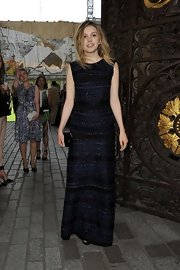 Hannah Murray stuck to a black and blue striped gown for her look at the Royal Academy Summer Exhibit Preview.