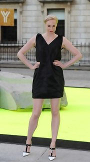 Gwendoline Christie opted for a classic loose-fit sleeveless LBD for her look at the Royal Academy Summer Exhibit Preview.