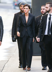 Ruby Rose looked seriously stylish in this perfectly tailored pantsuit while headed to 'Kimmel.'