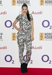 Jessie J wore a matching black-and-white paisley pant and top set for the Silver Chef Awards.
