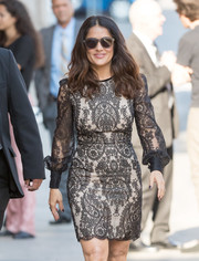 Salma Hayek kept her eyes hidden behind a pair of wayfarers as she made her way to 'Kimmel.'
