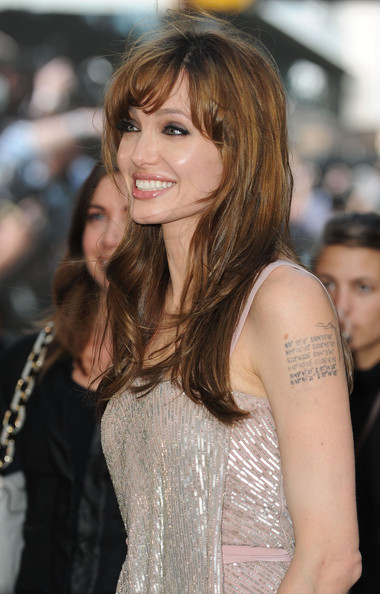 More Pics of Angelina Jolie Long Straight Cut with Bangs (1 of 8) - Angelina Jolie Lookbook - StyleBistro