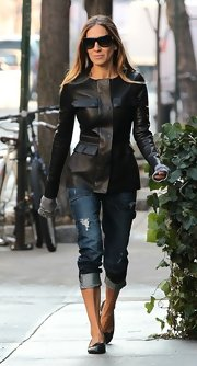 Sarah Jessica Parker chose this fitted leather jacket with flap pockets for her sleek and modern look while out in NYC.
