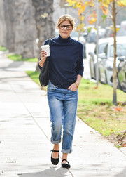 Selma Blair finished off her comfy ensemble with a pair of flat Mary Janes.