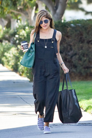 Selma Blair looked cute and relaxed in black overalls while out on a coffee run.