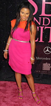 Lil Kim looked pretty in neon pieces including a pair of strappy heels at the 'Sex and the City' premiere.