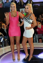 Karissa Shannon looked just like Barbie in her pink bandage dress during the 'Celebrity Big Brother' final eviction.