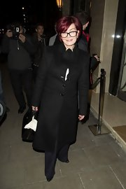 Sharon Osbourne was out in London wearing a black wool coat.