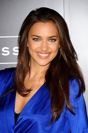 Irina Shayk launched the Intimissimi lingerie book 'The Perfect Bra,' wearing her shiny hair in long layers.