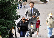 Shia LaBeouf was an elegant standout in his gray suit while filming 'Wall Street 2' in Central Park Zoo.