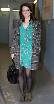 Sophie McShera chose a teal floral frock for her fun and flirty daytime look at the London Studios.