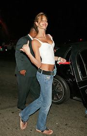 Ana Beatriz Barros flaunted those killer abs in a tight white crop-top while out clubbing in Hollywood.