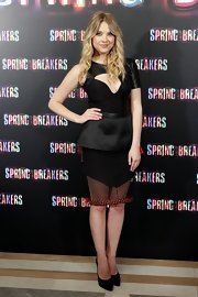 Ashley Benson got gutsy in this unique cocktail dress at the 'Spring Breakers' photocall in Mardrid.