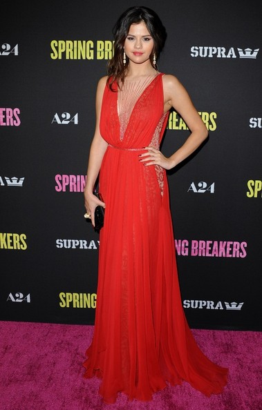 Selena Gomez Wore Reem Acra at the 'Spring Breakers' Premiere in Hollywood