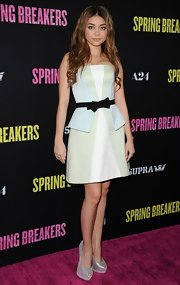 Sarah Hyland dressed up at the 'Spring Breakers' premiere in this strapless pastel dress with a peplum bodice.
