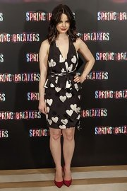 Rachel Korine was feeling the love in this heart print cocktail dress at the 'Spring Breakers' Madrid photocall.
