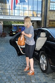 Kimberley Walsh arrived on 'Strictly Come Dancing' carrying a chic camel-colored hobo bag.