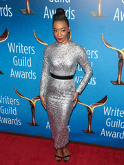 Betty Gabriel made an ultra-elegant choice with this silver lace dress by Anaya for the 2018 Writers Guild Awards.