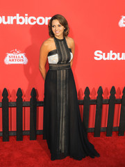 Luciana Damon was sexy-glam in a black-and-white lace-panel halter gown at the LA premiere of 'Suburbicon.'