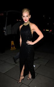 Ashley looked stunning at the Sun Military Awards wearing a floor-length beaded dress with a gold collar.
