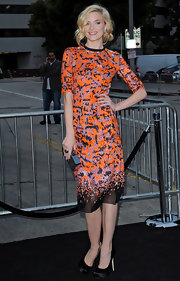 Jaime King donned elegant black satin platform pumps with a colorful orange and pink dress at the 'Super 8' premiere.
