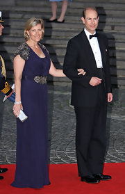 Sophie Countess of Wessex shimmered in her draped blue evening gown.