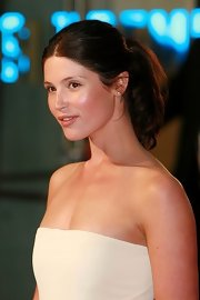 Gemma Arterton showed off her soft center part ponytail while hitting the UK premiere of 'Tamara Drewe'.