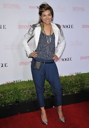 Hayley Kiyoko finished off her mod look with silver pumps.