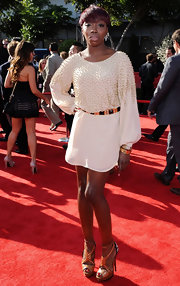 Estelle gave her beaded white dress an exotic edge at the ESPYS with a pair of tribal-inspired sandals with multicolored straps.