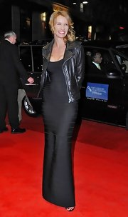 Alexandra Lamy did a fabulous job edging up her evening ensemble with this fierce leather biker jacket.
