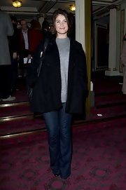 Gemma Arterton looked casual and cool in classic flare jeans at a performance of 'The Audience.'