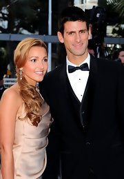 Tennis great Novak Djokovic wore a blue bowtie to this movie premiere.
