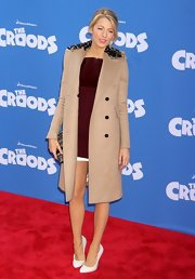 Blake Lively kept her look super classic with this camel wool coat with embellished collar.