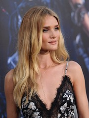 Rosie Huntington-Whiteley complemented her decollete dress with a simple yet elegant gold Y-drop necklace.